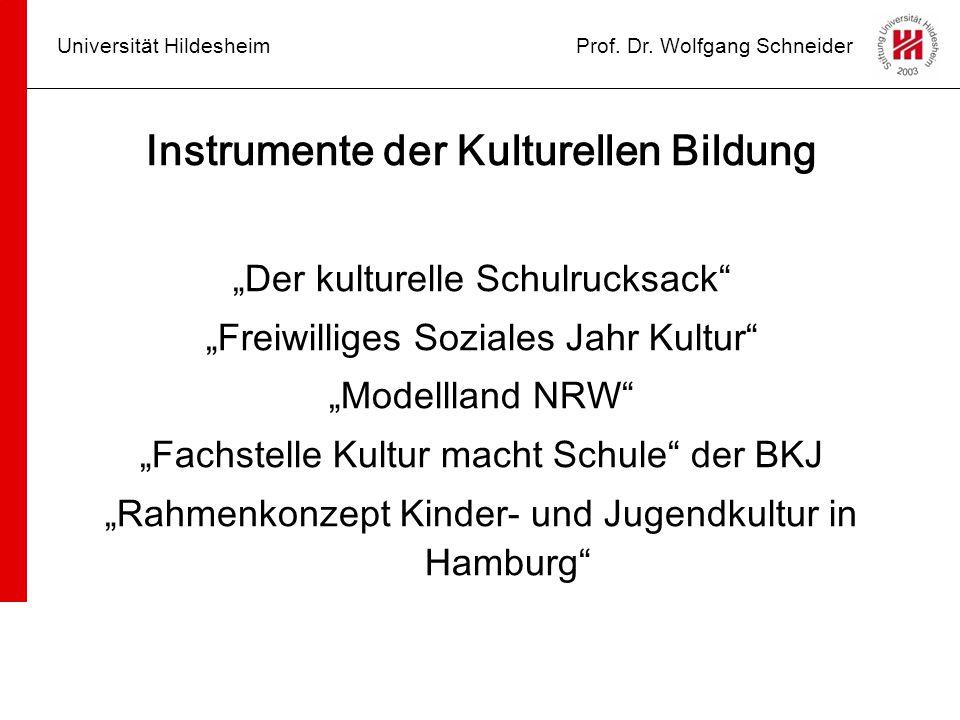 """Universität HildesheimProf. Dr. Wolfgang Schneider Instrumente der Kulturellen Bildung """"Der kulturelle Schulrucksack"""" """"Freiwilliges Soziales Jahr Kult"""