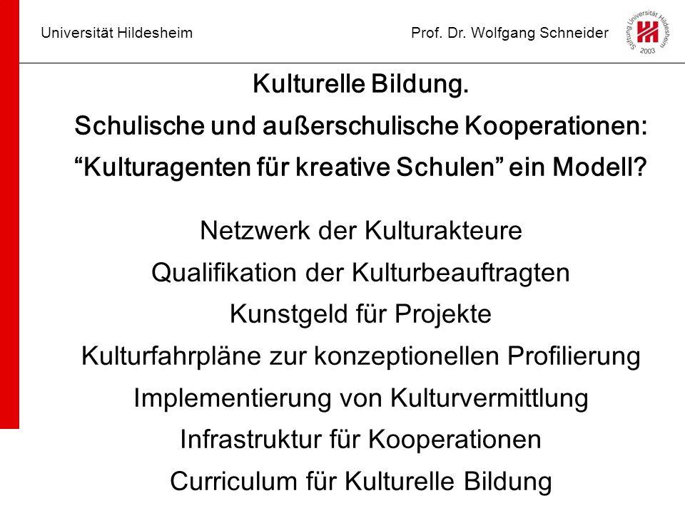 """Universität HildesheimProf. Dr. Wolfgang Schneider Kulturelle Bildung. Schulische und außerschulische Kooperationen: """"Kulturagenten für kreative Schul"""