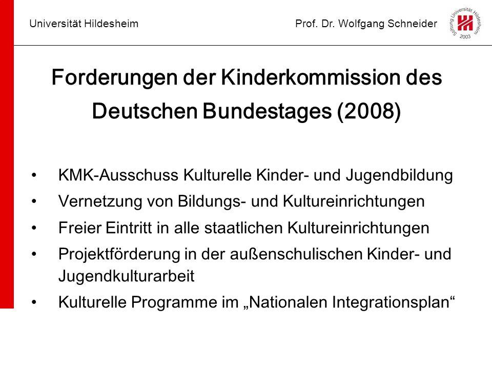 Universität HildesheimProf. Dr. Wolfgang Schneider Forderungen der Kinderkommission des Deutschen Bundestages (2008) KMK-Ausschuss Kulturelle Kinder-