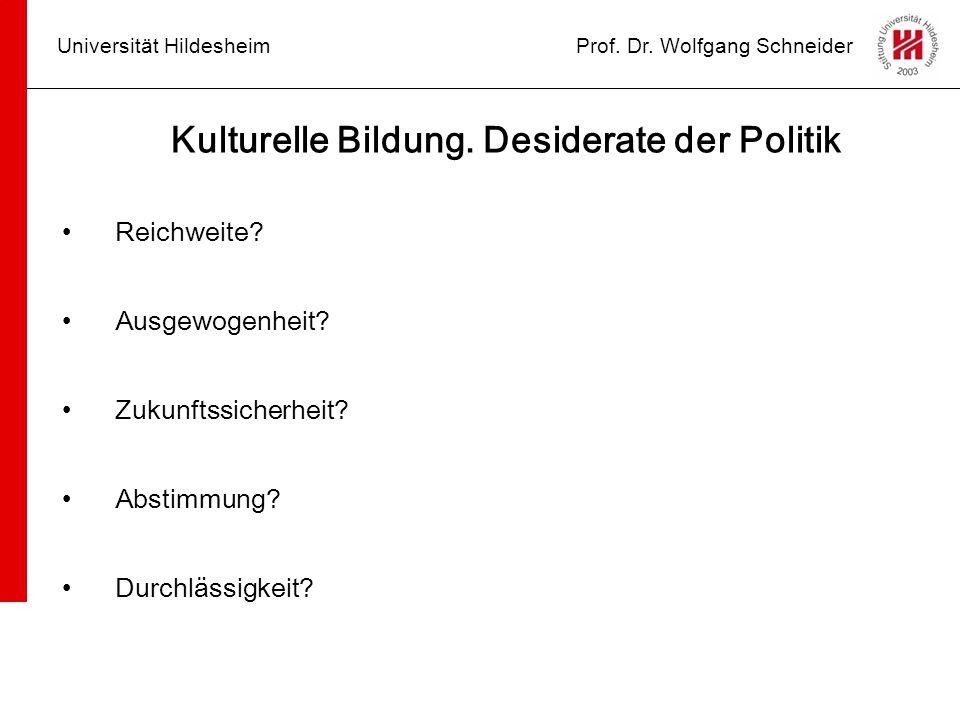 Universität HildesheimProf. Dr. Wolfgang Schneider Kulturelle Bildung. Desiderate der Politik Reichweite? Ausgewogenheit? Zukunftssicherheit? Abstimmu