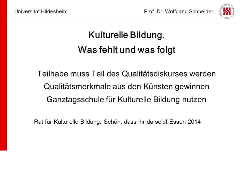 Universität HildesheimProf. Dr. Wolfgang Schneider Kulturelle Bildung. Was fehlt und was folgt Teilhabe muss Teil des Qualitätsdiskurses werden Qualit
