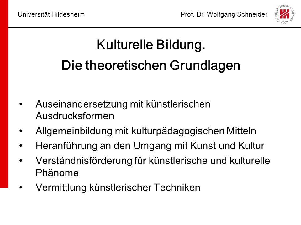 Universität HildesheimProf. Dr. Wolfgang Schneider Kulturelle Bildung. Die theoretischen Grundlagen Auseinandersetzung mit künstlerischen Ausdrucksfor