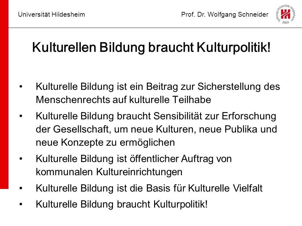 Universität HildesheimProf. Dr. Wolfgang Schneider Kulturellen Bildung braucht Kulturpolitik! Kulturelle Bildung ist ein Beitrag zur Sicherstellung de