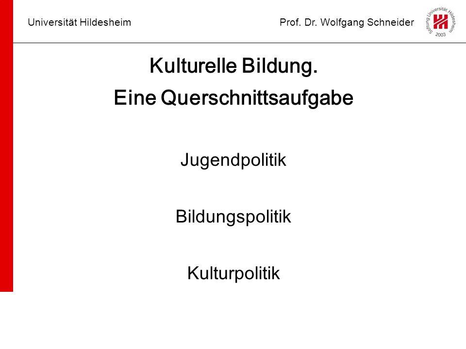 Universität HildesheimProf. Dr. Wolfgang Schneider Kulturelle Bildung. Eine Querschnittsaufgabe Jugendpolitik Bildungspolitik Kulturpolitik