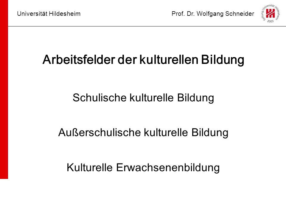 Universität HildesheimProf. Dr. Wolfgang Schneider Arbeitsfelder der kulturellen Bildung Schulische kulturelle Bildung Außerschulische kulturelle Bild
