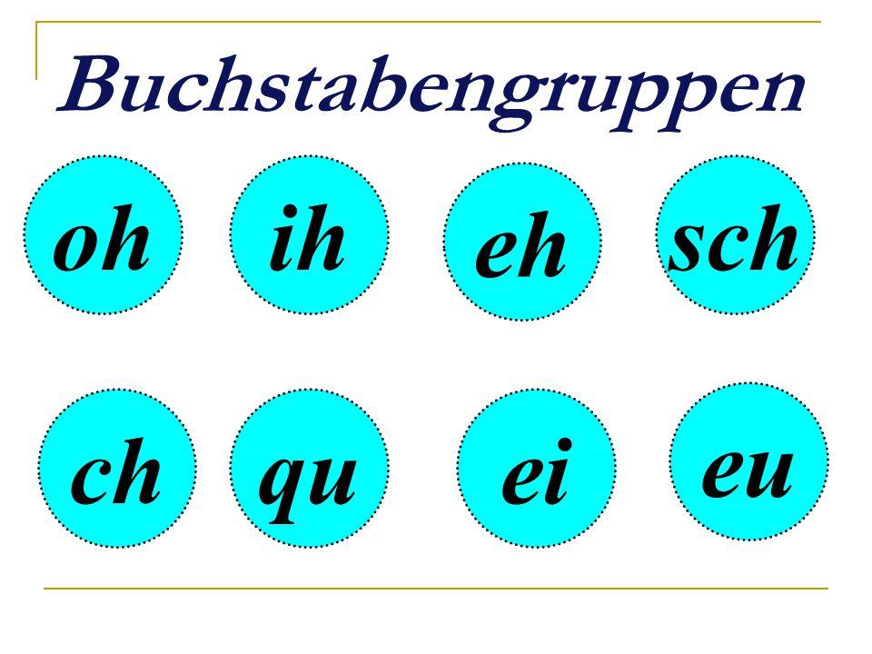 oh Buchstabengruppen ih quei eu eh sch ch