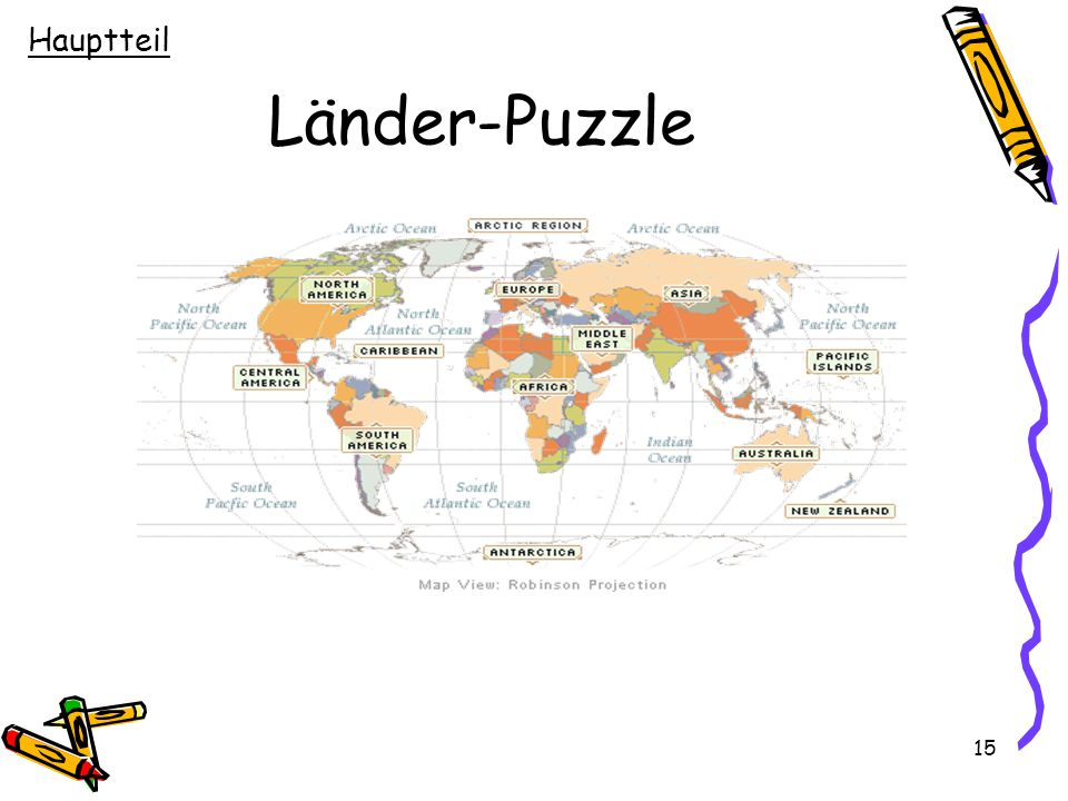 15 Länder-Puzzle Hauptteil