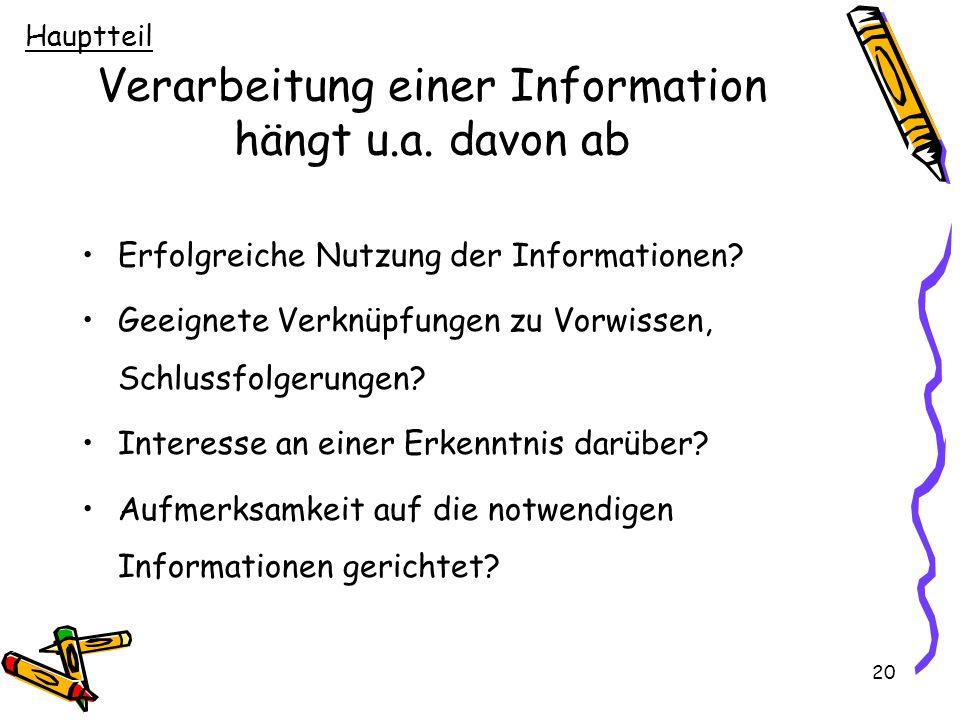 20 Verarbeitung einer Information hängt u.a. davon ab Erfolgreiche Nutzung der Informationen? Geeignete Verknüpfungen zu Vorwissen, Schlussfolgerungen