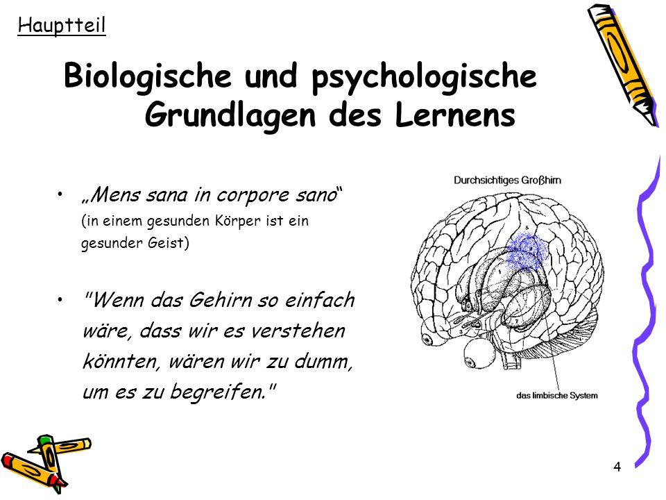 """4 Biologische und psychologische Grundlagen des Lernens """"Mens sana in corpore sano"""" (in einem gesunden Körper ist ein gesunder Geist)"""