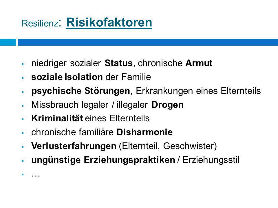 Resilienz : Risikofaktoren  niedriger sozialer Status, chronische Armut  soziale Isolation der Familie  psychische Störungen, Erkrankungen eines El