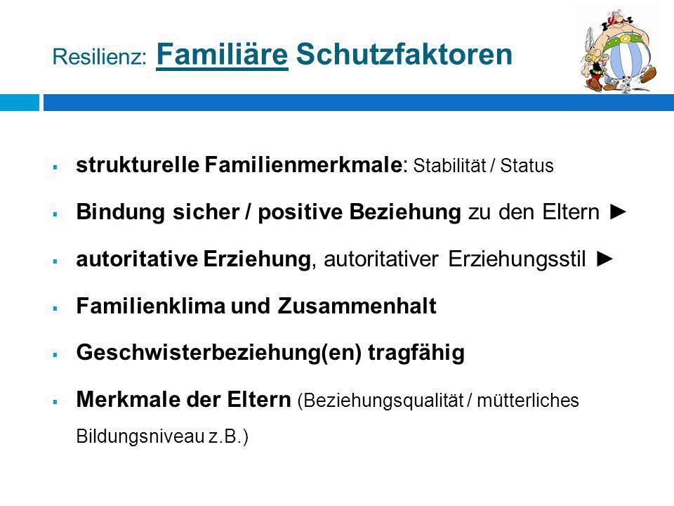 Resilienz: Familiäre Schutzfaktoren  strukturelle Familienmerkmale: Stabilität / Status  Bindung sicher / positive Beziehung zu den Eltern ►  autor