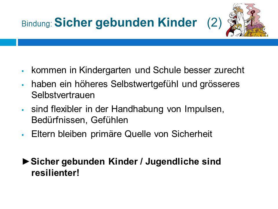 Bindung: Sicher gebunden Kinder (2)  kommen in Kindergarten und Schule besser zurecht  haben ein höheres Selbstwertgefühl und grösseres Selbstvertra