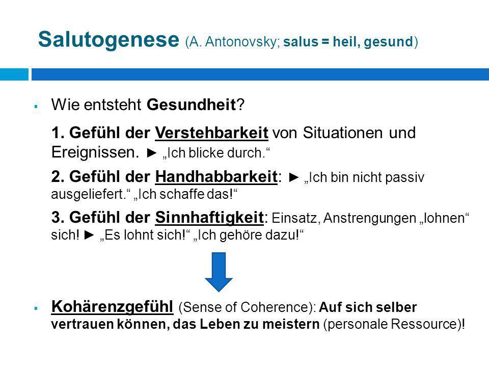 """Salutogenese (A. Antonovsky; salus = heil, gesund)  Wie entsteht Gesundheit? 1. Gefühl der Verstehbarkeit von Situationen und Ereignissen. ► """"Ich bli"""