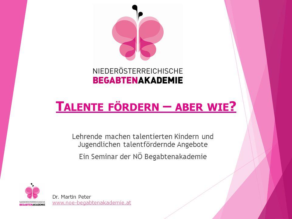 D IE A NSPRECHPARTNER DER NÖ B EGABTENAKADEMIE Projektorganisation: Frau Alice MARCHARTH NÖ KREATIV GmbH 3100 St.
