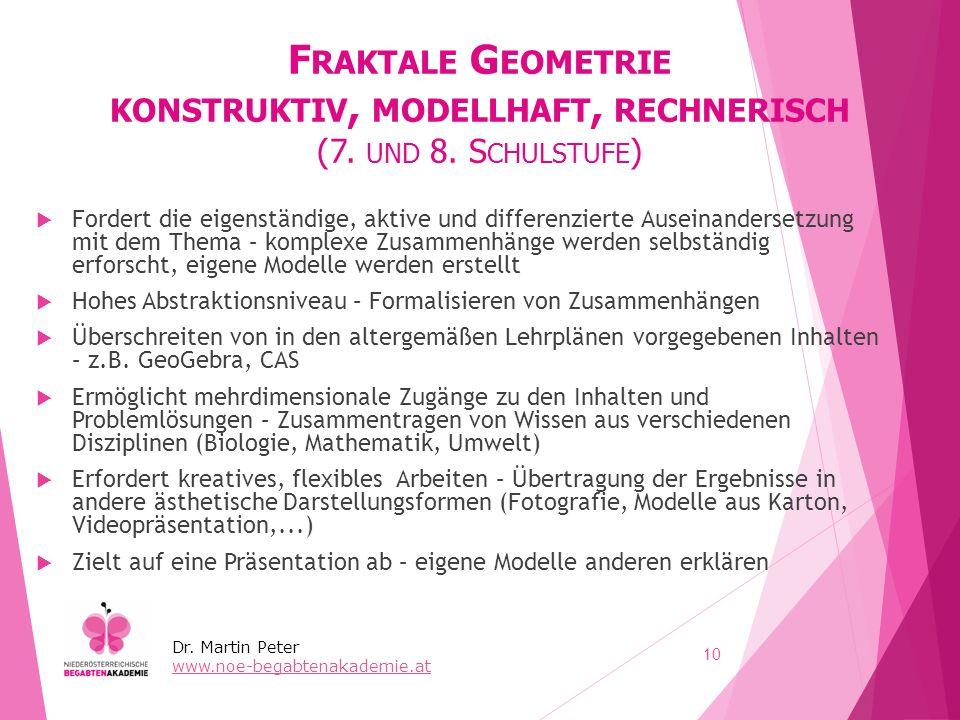 F RAKTALE G EOMETRIE KONSTRUKTIV, MODELLHAFT, RECHNERISCH (7. UND 8. S CHULSTUFE )  Fordert die eigenständige, aktive und differenzierte Auseinanders