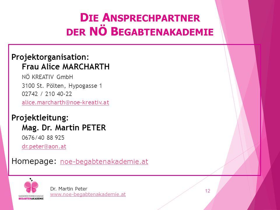 D IE A NSPRECHPARTNER DER NÖ B EGABTENAKADEMIE Projektorganisation: Frau Alice MARCHARTH NÖ KREATIV GmbH 3100 St. Pölten, Hypogasse 1 02742 / 210 40-2