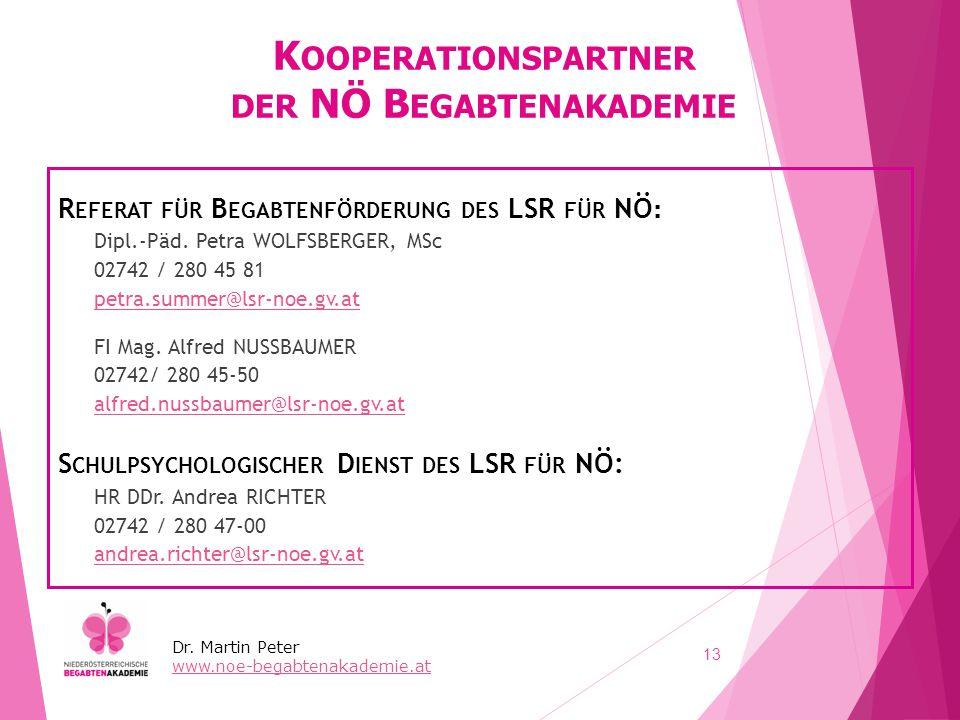 K OOPERATIONSPARTNER DER NÖ B EGABTENAKADEMIE R EFERAT FÜR B EGABTENFÖRDERUNG DES LSR FÜR NÖ : Dipl.-Päd. Petra WOLFSBERGER, MSc 02742 / 280 45 81 pet