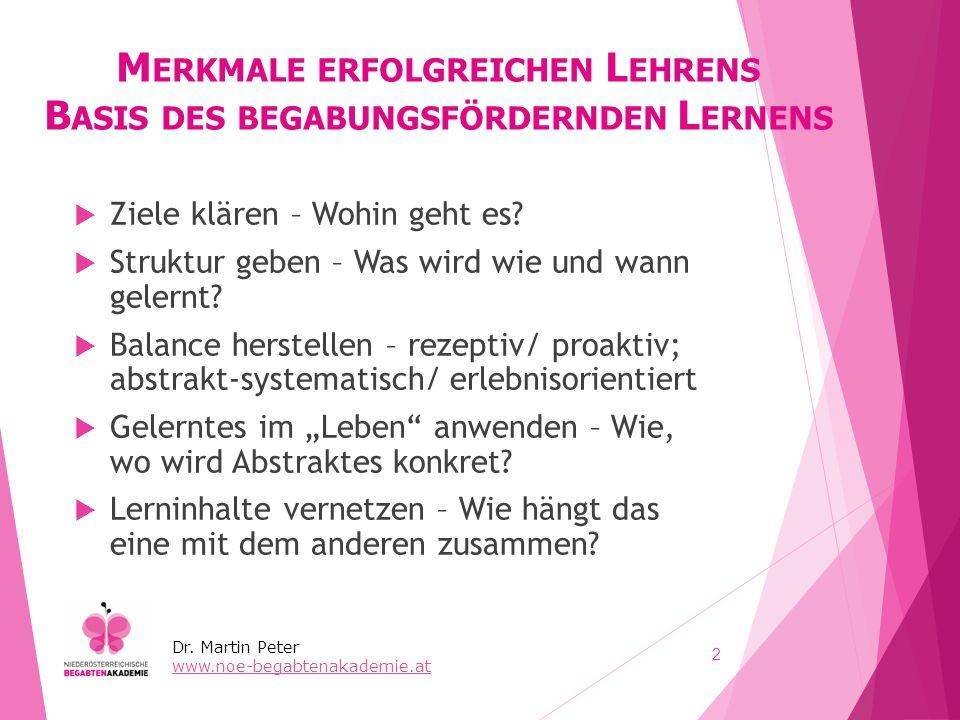 K OOPERATIONSPARTNER DER NÖ B EGABTENAKADEMIE R EFERAT FÜR B EGABTENFÖRDERUNG DES LSR FÜR NÖ : Dipl.-Päd.
