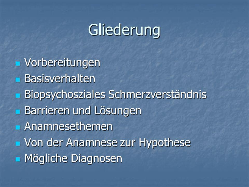 Gliederung Vorbereitungen Vorbereitungen Basisverhalten Basisverhalten Biopsychosziales Schmerzverständnis Biopsychosziales Schmerzverständnis Barrier