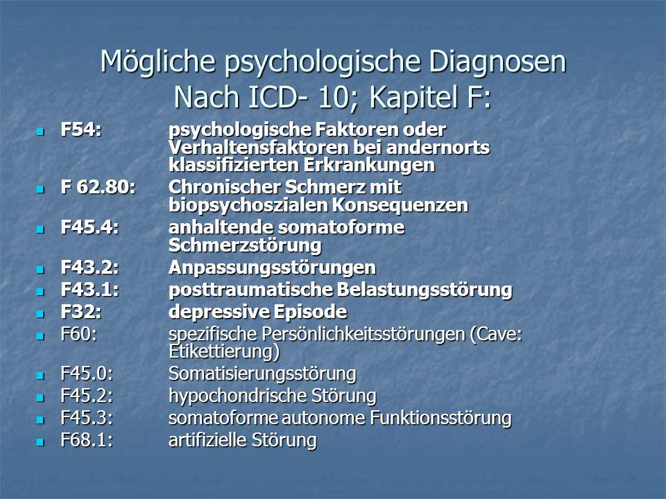 Mögliche psychologische Diagnosen Nach ICD- 10; Kapitel F: F54:psychologische Faktoren oder Verhaltensfaktoren bei andernorts klassifizierten Erkranku