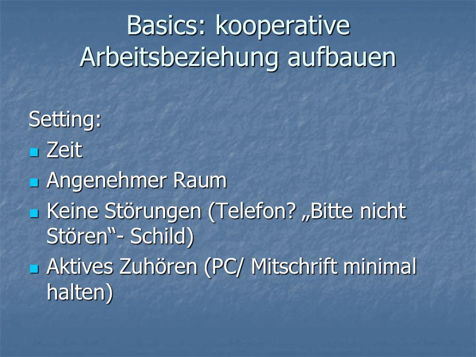 """Basics: kooperative Arbeitsbeziehung aufbauen Setting: Zeit Zeit Angenehmer Raum Angenehmer Raum Keine Störungen (Telefon? """"Bitte nicht Stören""""- Schil"""