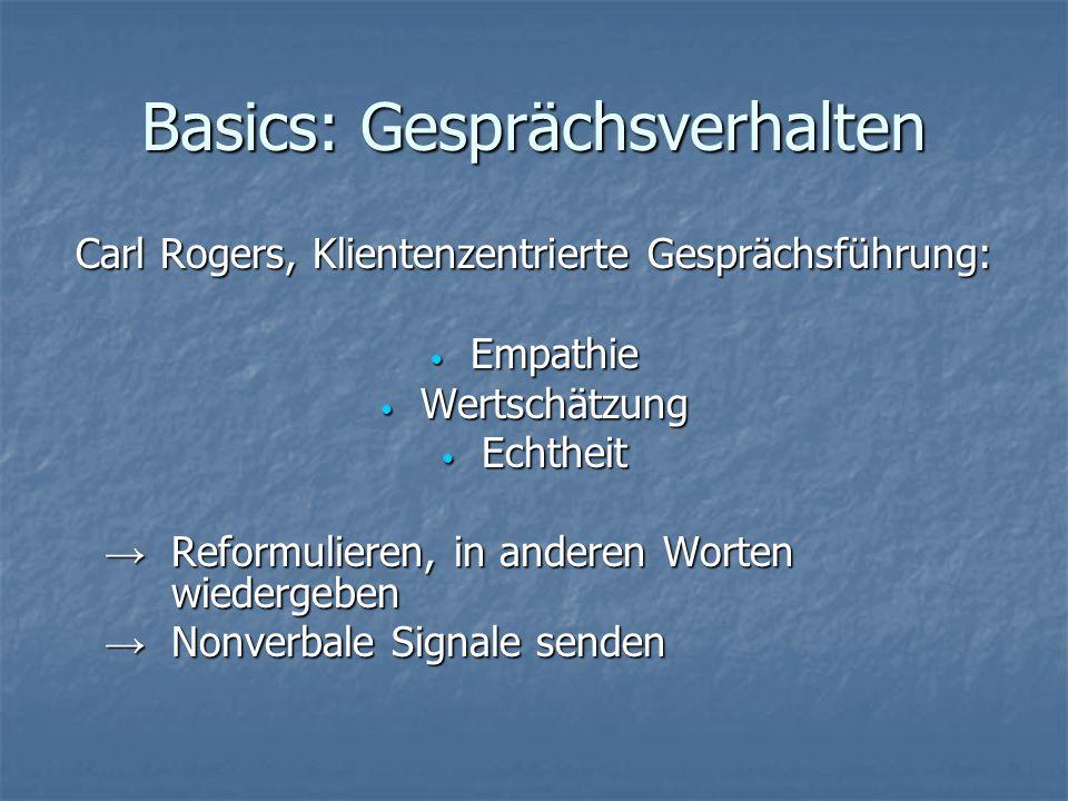 Basics: Gesprächsverhalten Carl Rogers, Klientenzentrierte Gesprächsführung: Empathie Empathie Wertschätzung Wertschätzung Echtheit Echtheit → Reformu