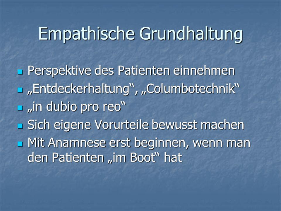 """Empathische Grundhaltung Perspektive des Patienten einnehmen Perspektive des Patienten einnehmen """"Entdeckerhaltung"""", """"Columbotechnik"""" """"Entdeckerhaltun"""