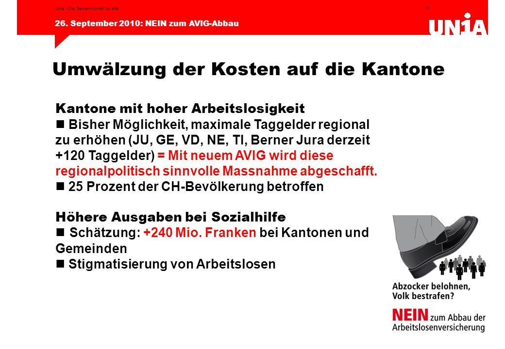 11 26. September 2010: NEIN zum AVIG-Abbau Unia - Die Gewerkschaft für alle Umwälzung der Kosten auf die Kantone Kantone mit hoher Arbeitslosigkeit Bi