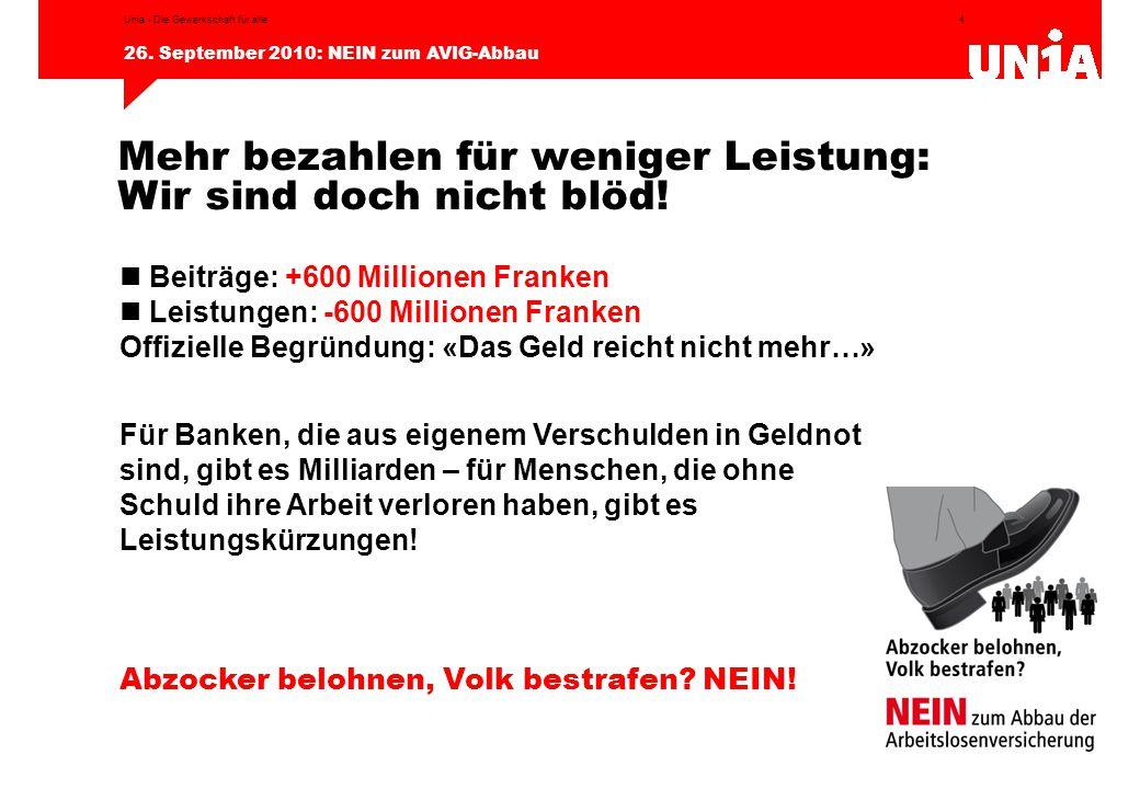 4 26. September 2010: NEIN zum AVIG-Abbau Unia - Die Gewerkschaft für alle Beiträge: +600 Millionen Franken Leistungen: -600 Millionen Franken Offizie