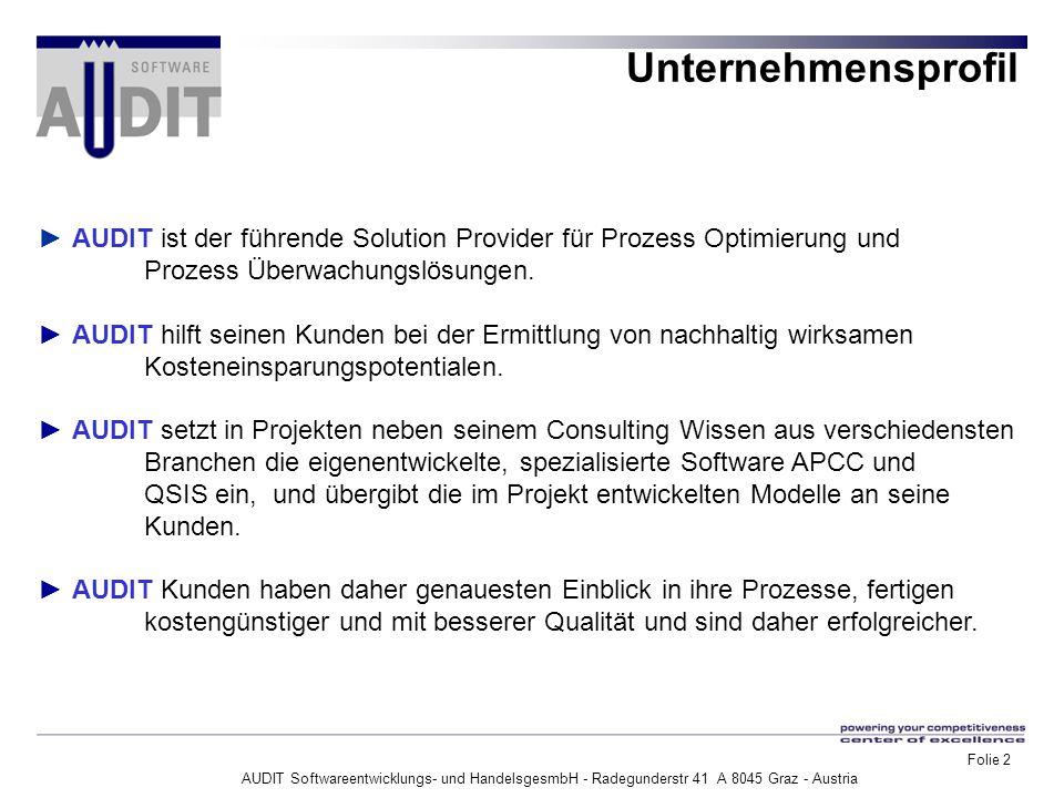 AUDIT Softwareentwicklungs- und HandelsgesmbH - Radegunderstr 41 A 8045 Graz - Austria Folie 2 ► AUDIT ist der führende Solution Provider für Prozess Optimierung und Prozess Überwachungslösungen.