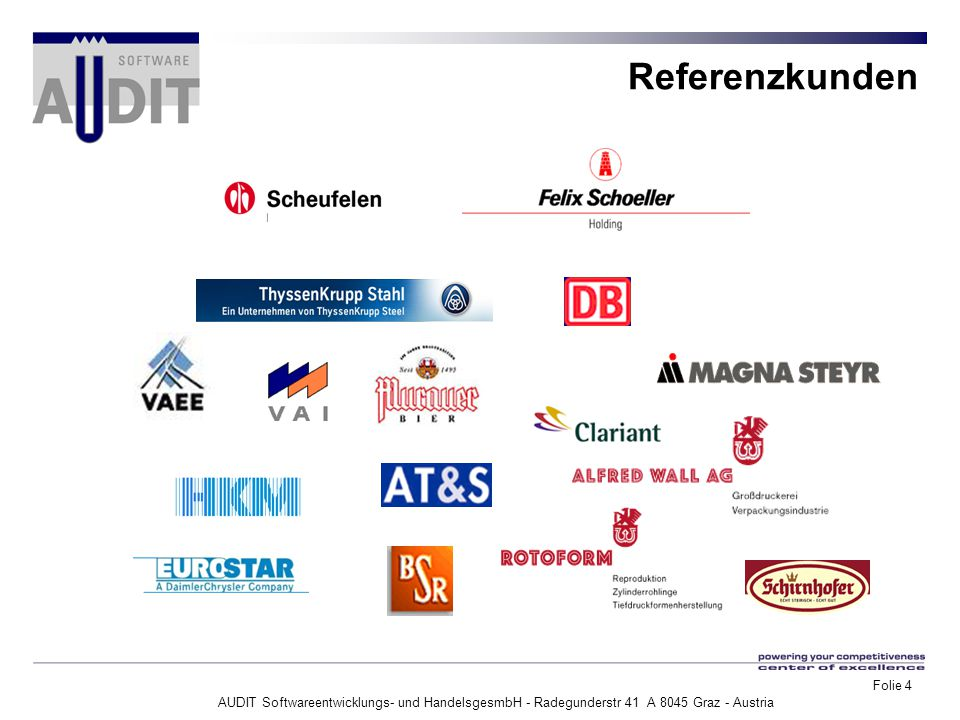 AUDIT Softwareentwicklungs- und HandelsgesmbH - Radegunderstr 41 A 8045 Graz - Austria Folie 4 Referenzkunden