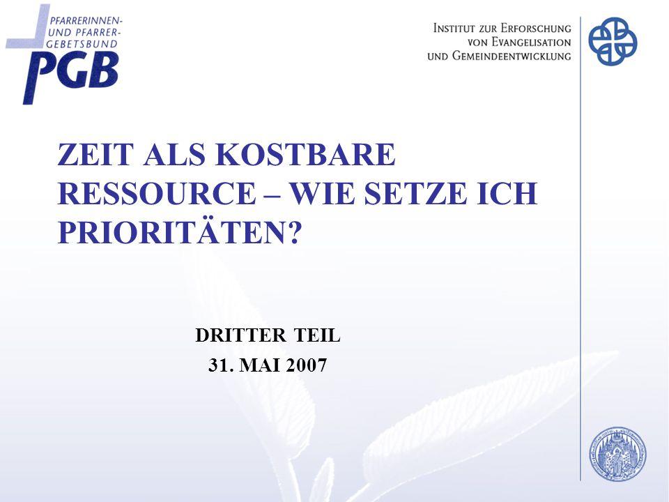 ZEIT ALS KOSTBARE RESSOURCE – WIE SETZE ICH PRIORITÄTEN DRITTER TEIL 31. MAI 2007
