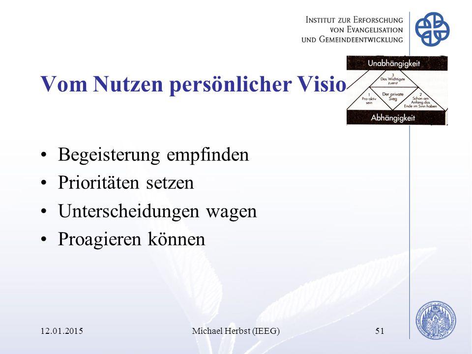 Vom Nutzen persönlicher Visionen Begeisterung empfinden Prioritäten setzen Unterscheidungen wagen Proagieren können 12.01.2015Michael Herbst (IEEG)51