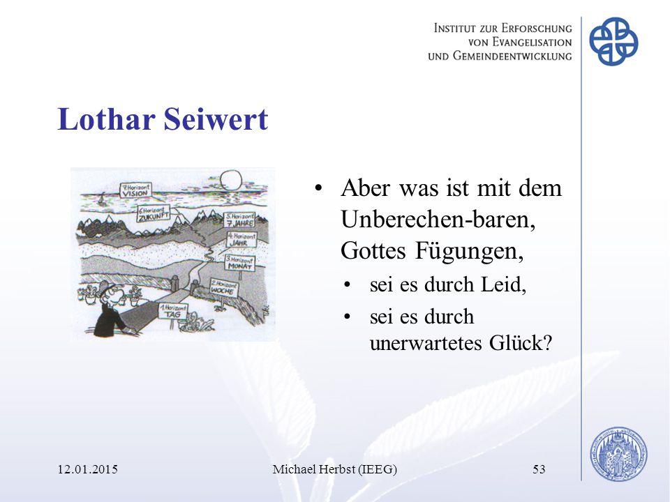 Lothar Seiwert Aber was ist mit dem Unberechen-baren, Gottes Fügungen, sei es durch Leid, sei es durch unerwartetes Glück.