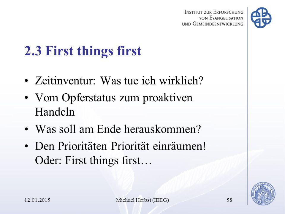 2.3 First things first Zeitinventur: Was tue ich wirklich.