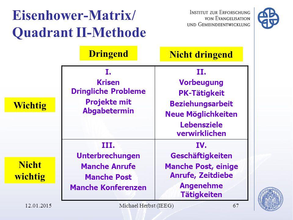 Eisenhower-Matrix/ Quadrant II-Methode 12.01.2015Michael Herbst (IEEG)67 Nicht wichtig Wichtig Nicht dringend Dringend I.