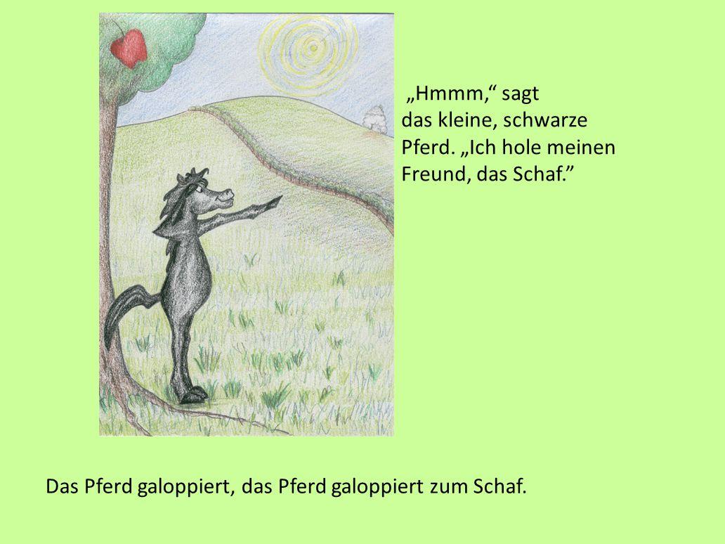 """""""Oh!"""" sagt das kleine, schwarze Pferd, """"das ist ein schöner, roter Apfel. Ich möchte ihn essen."""" Das kleine, schwarze Pferd versucht, den Apfel zu pfl"""