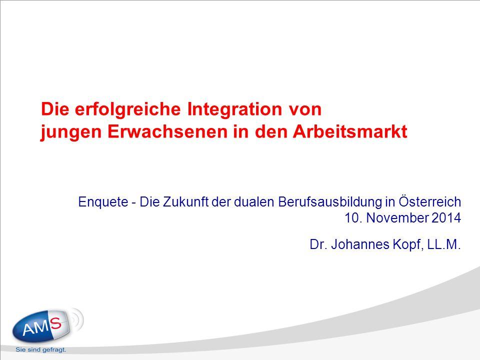 Die erfolgreiche Integration von jungen Erwachsenen in den Arbeitsmarkt Enquete - Die Zukunft der dualen Berufsausbildung in Österreich 10. November 2
