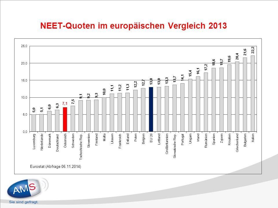 NEET-Quoten im europäischen Vergleich 2013