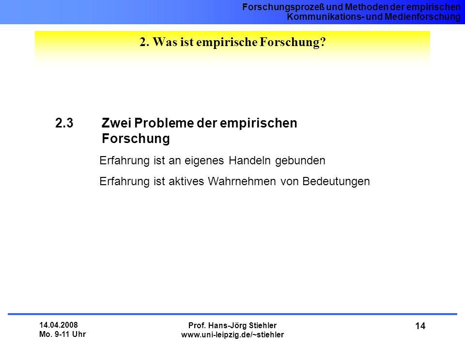 Forschungsprozeß und Methoden der empirischen Kommunikations- und Medienforschung 14.04.2008 Mo. 9-11 Uhr Prof. Hans-Jörg Stiehler www.uni-leipzig.de/