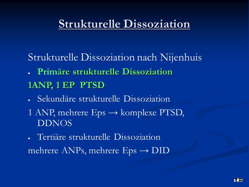 Strukturelle Dissoziation Strukturelle Dissoziation nach Nijenhuis äre strukturelle Dissoziation  Primäre strukturelle Dissoziation 1ANP, 1 EP PTSD 
