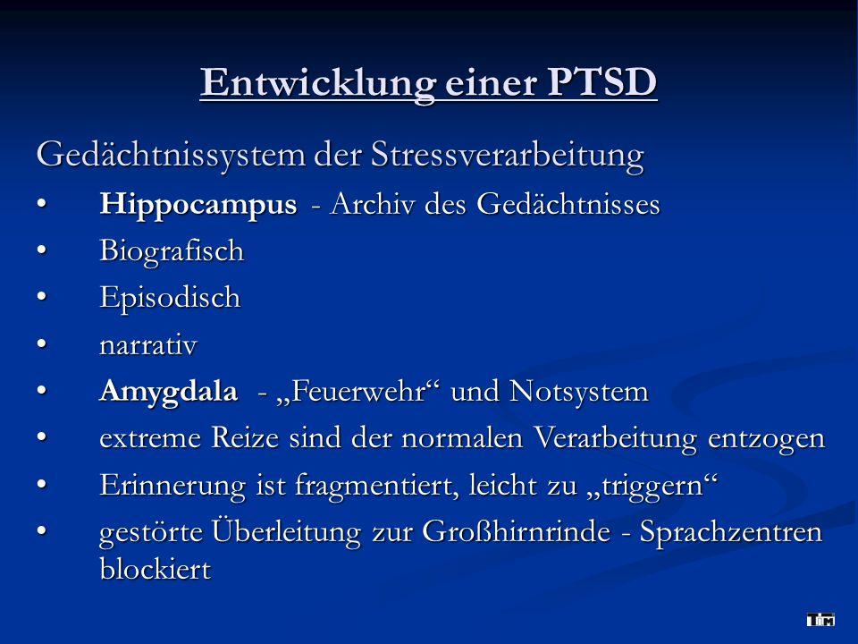 """Entwicklung einer PTSD Gedächtnissystem der Stressverarbeitung Hippocampus - Archiv des Gedächtnisses Hippocampus - Archiv des Gedächtnisses Biografisch Biografisch Episodisch Episodisch narrativ narrativ Amygdala - """"Feuerwehr und Notsystem Amygdala - """"Feuerwehr und Notsystem extreme Reize sind der normalen Verarbeitung entzogen extreme Reize sind der normalen Verarbeitung entzogen Erinnerung ist fragmentiert, leicht zu """"triggern Erinnerung ist fragmentiert, leicht zu """"triggern gestörte Überleitung zur Großhirnrinde - Sprachzentren blockiert gestörte Überleitung zur Großhirnrinde - Sprachzentren blockiert"""