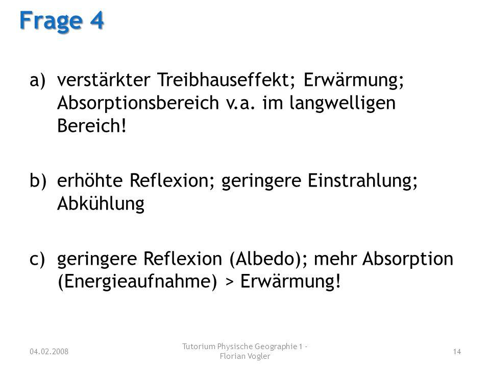 a)verstärkter Treibhauseffekt; Erwärmung; Absorptionsbereich v.a. im langwelligen Bereich! b)erhöhte Reflexion; geringere Einstrahlung; Abkühlung c)ge