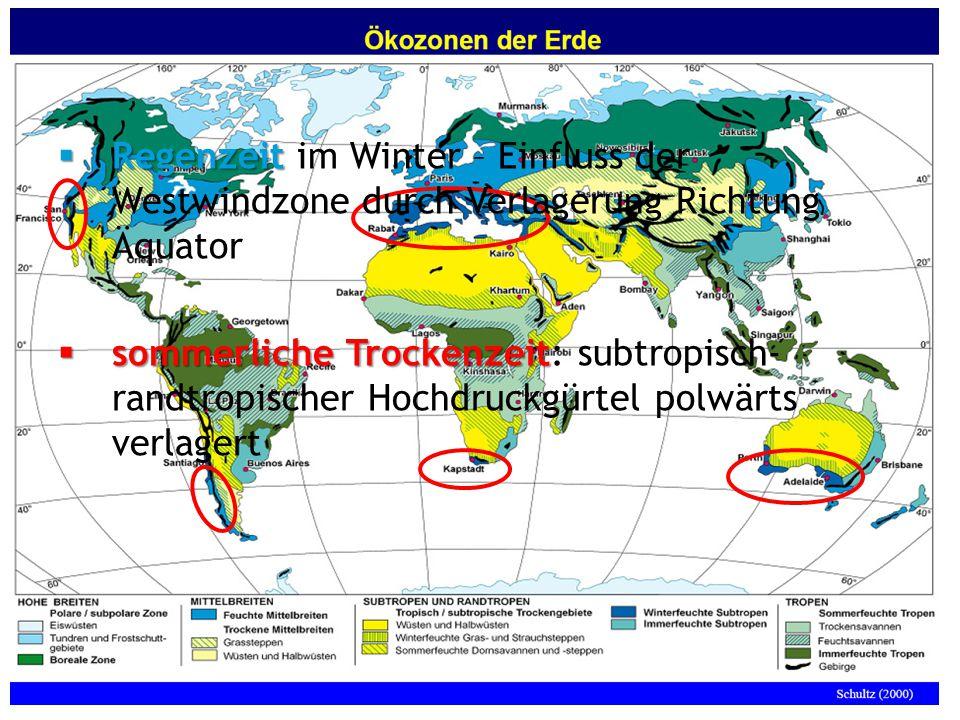 04.02.2008 Tutorium Physische Geographie 1 - Florian Vogler 17 Frage 7  Regenzeit  Regenzeit im Winter – Einfluss der Westwindzone durch Verlagerung