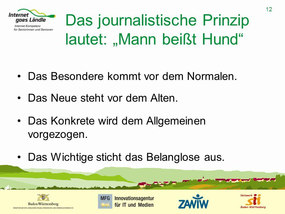 """12 MUSTERPRÄSENTATION 09.01.2008 12 Das journalistische Prinzip lautet: """"Mann beißt Hund"""" Das Besondere kommt vor dem Normalen. Das Neue steht vor dem"""
