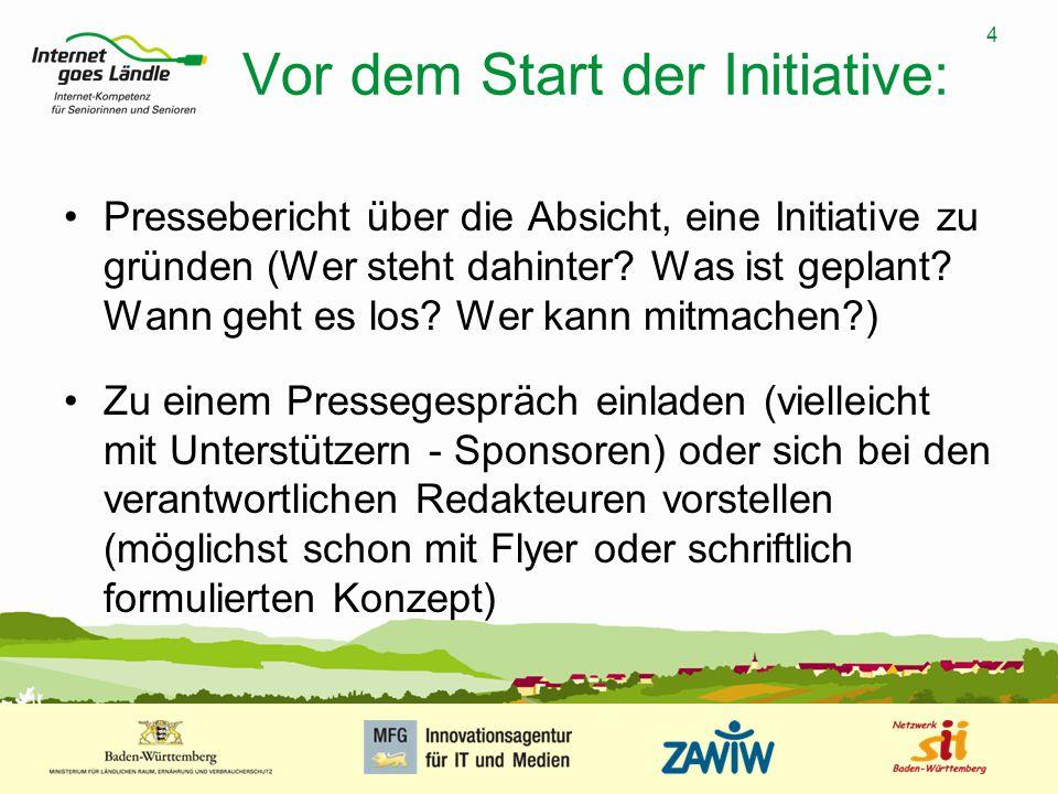 4 MUSTERPRÄSENTATION 09.01.2008 4 Vor dem Start der Initiative: Pressebericht über die Absicht, eine Initiative zu gründen (Wer steht dahinter? Was is