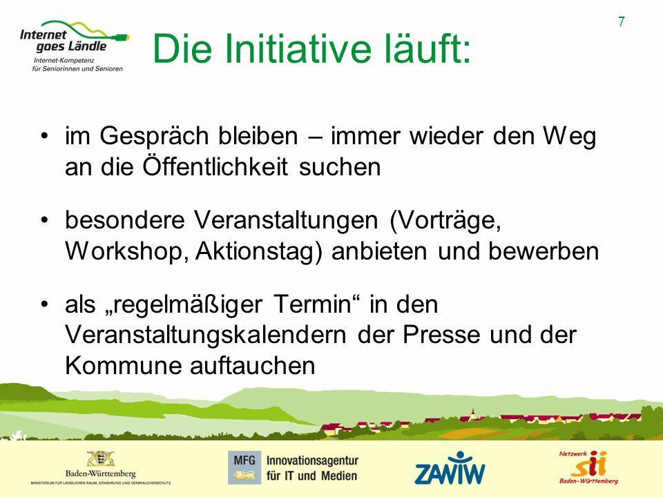 7 MUSTERPRÄSENTATION 09.01.2008 7 Die Initiative läuft: im Gespräch bleiben – immer wieder den Weg an die Öffentlichkeit suchen besondere Veranstaltun