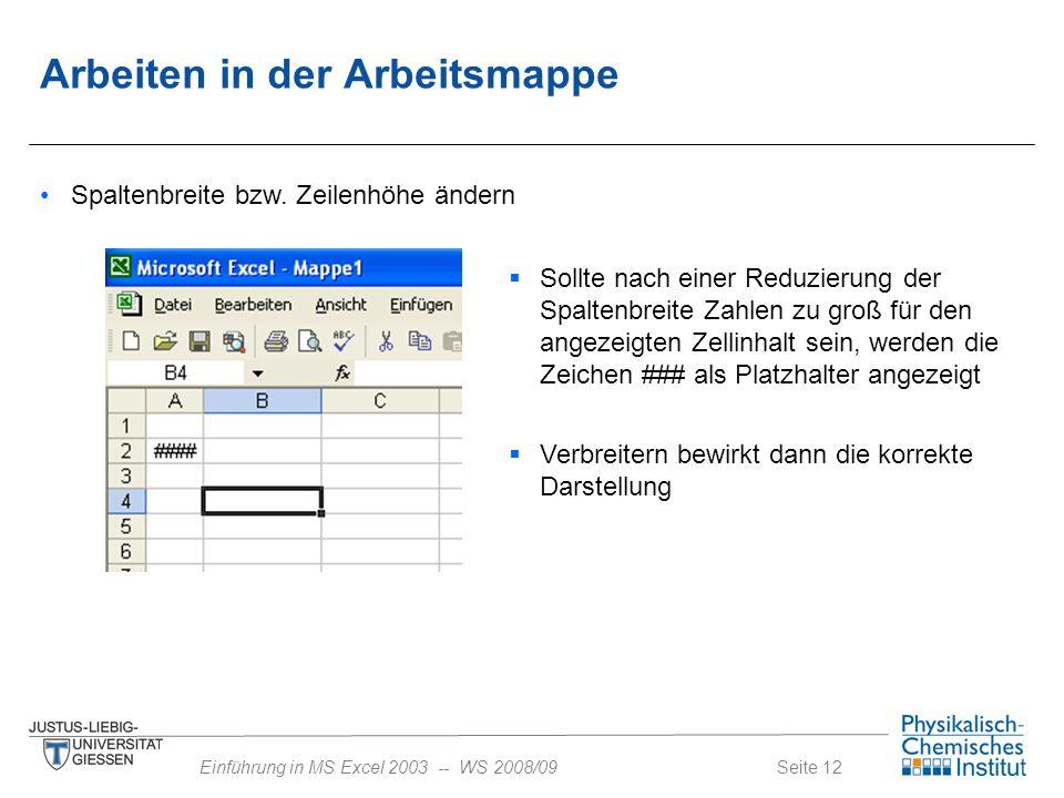 Seite 12Einführung in MS Excel 2003 -- WS 2008/09 Spaltenbreite bzw. Zeilenhöhe ändern  Sollte nach einer Reduzierung der Spaltenbreite Zahlen zu gro