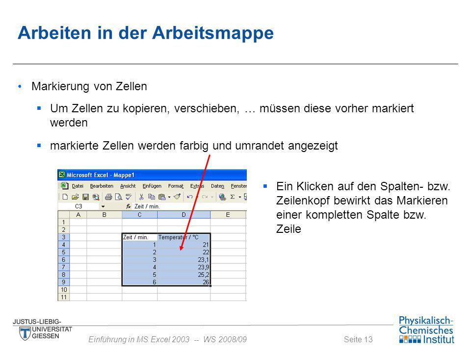 Seite 13Einführung in MS Excel 2003 -- WS 2008/09  Um Zellen zu kopieren, verschieben, … müssen diese vorher markiert werden  markierte Zellen werde