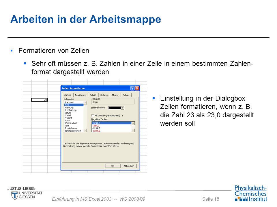 Seite 18Einführung in MS Excel 2003 -- WS 2008/09  Sehr oft müssen z. B. Zahlen in einer Zelle in einem bestimmten Zahlen- format dargestellt werden